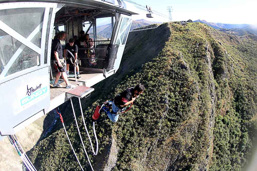 Bungee jumping is a must-do in New Zealand.