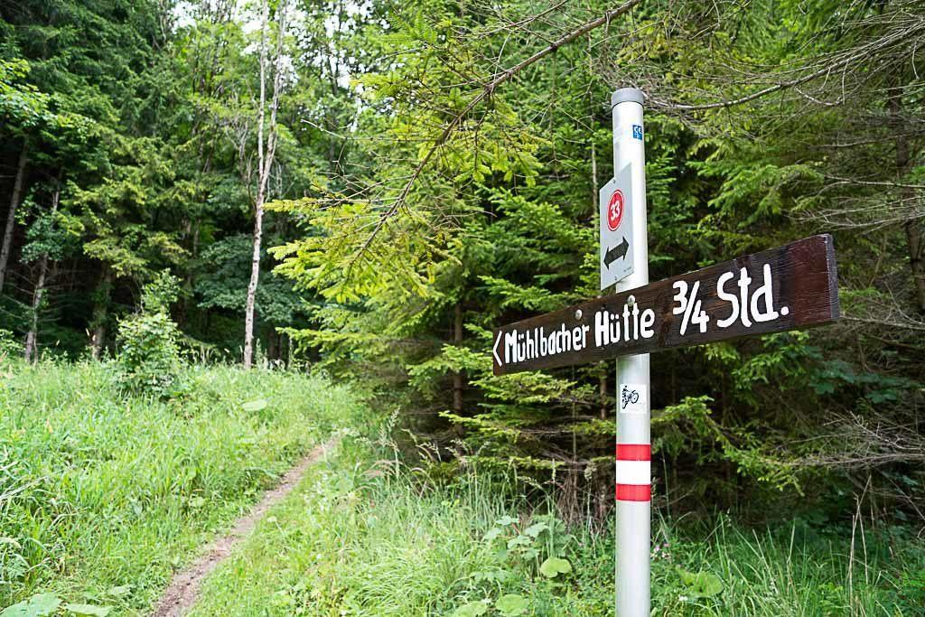 Uma placa indica a direção em meio à natureza na trilha Mühlbacherhütte-Pleschkogel, perto de Graz.