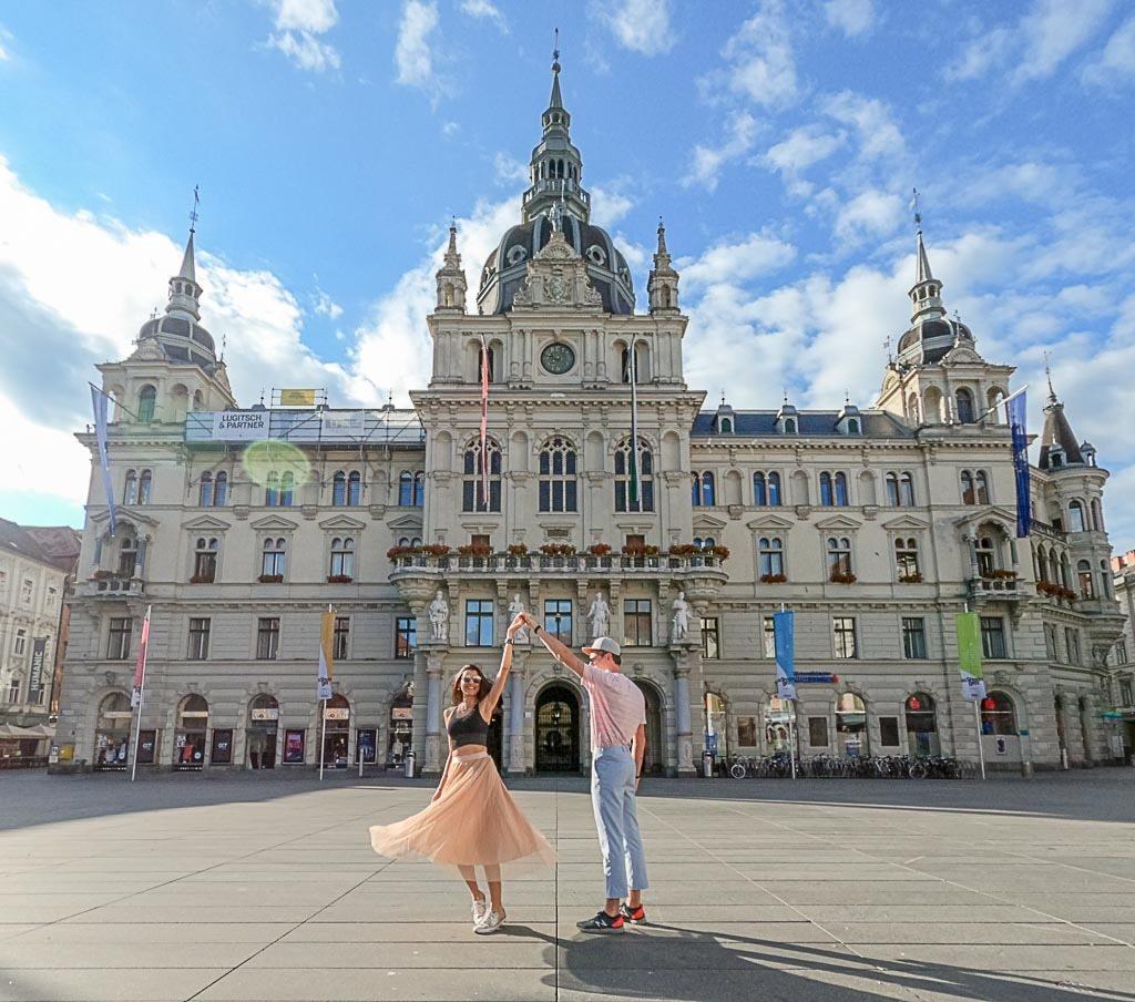 Couple dancing in the city of Graz, Austria.