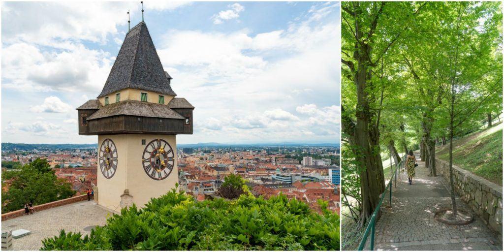 A colina Schlossberg é a trilha mais fácil em Graz, você terá excelentes vistas e poderá terminar sua caminhada com um bom café da manhã, almoço ou uma cerveja gelada lá no topo.