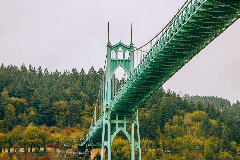St. Johns Bridge spans the Willamette River in Portland, Oregon.