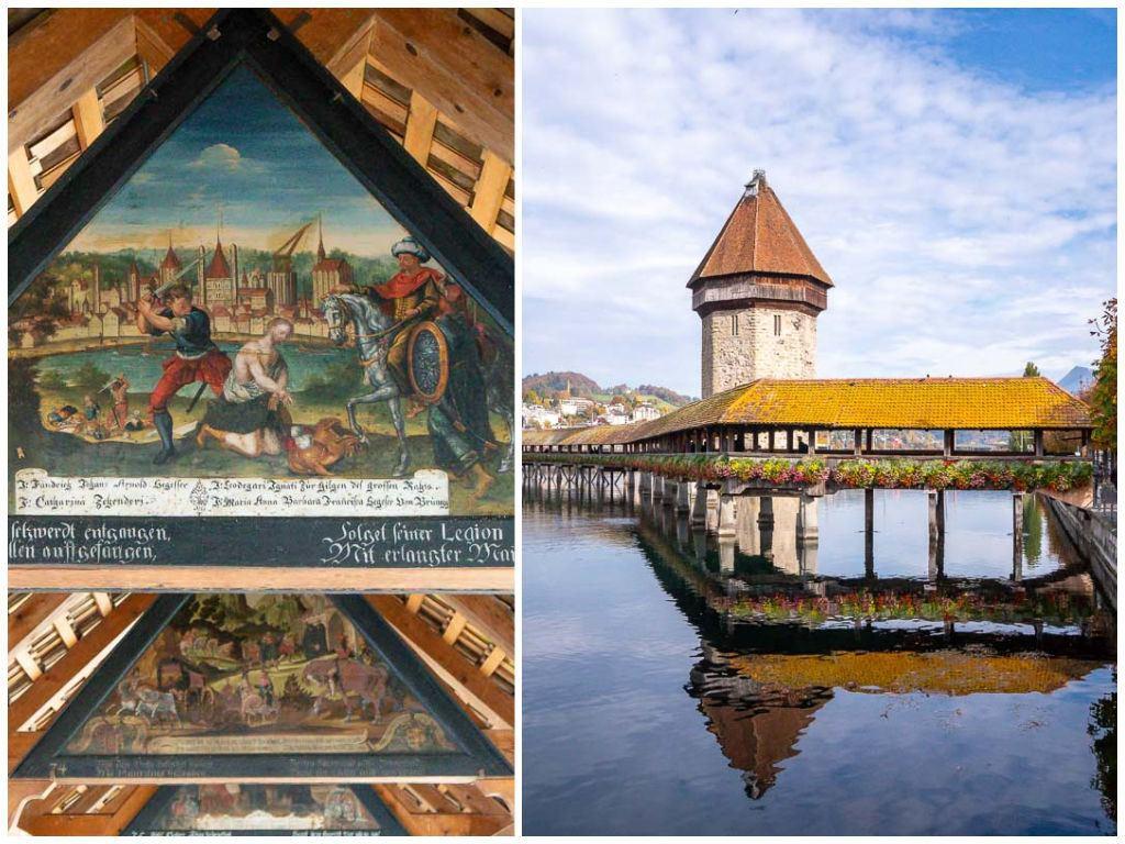 Uma montagem com imagens da Ponte da Capela e suas pinturas em Lucerna, Suíça.
