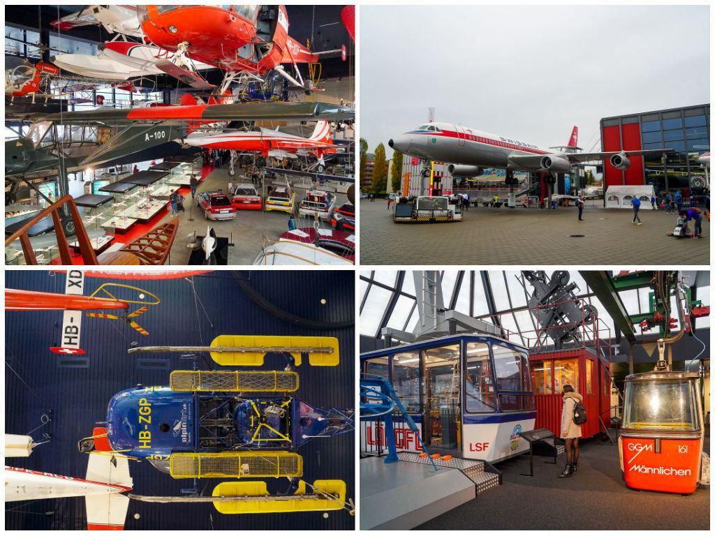 Uma montagem de imagens do Museu Suíço do Transporte com aviões, helicópteros e trens.