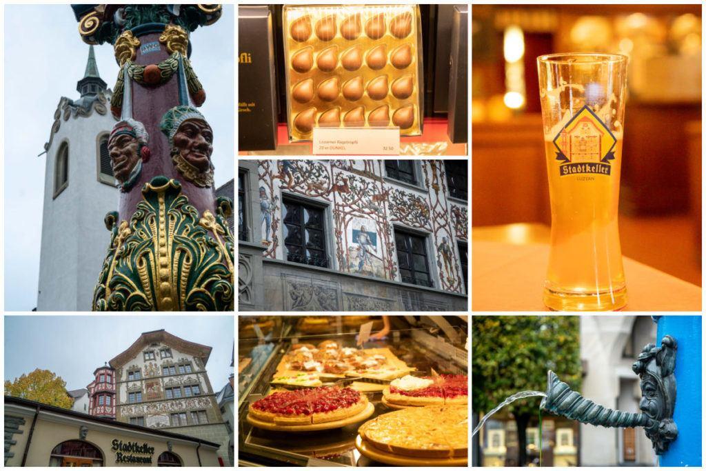 Uma montagem com imagens de comida, cerveja, chocolate e lugares para visitar em Lucerna.