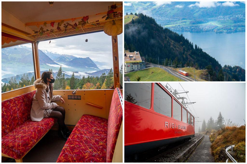 Uma montagem com imagens do trem de roda dentada, de dentro, de fora e da vista do Monte do Rigi.
