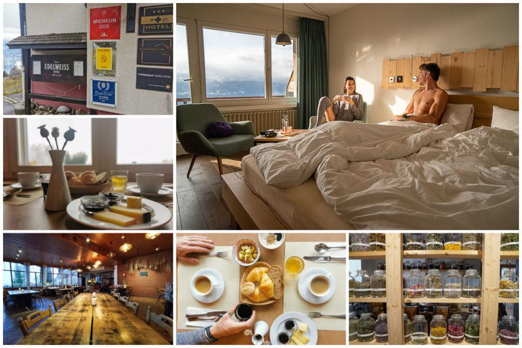 Uma montagem de fotos de um dos melhores hotéis no Monte Rigi.