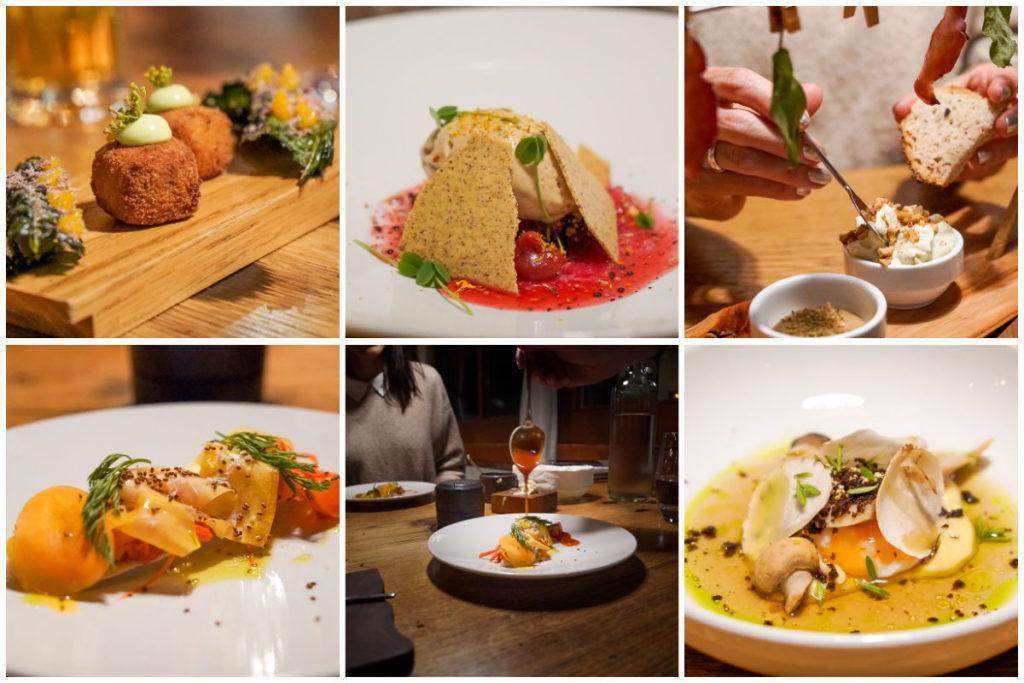 Uma montagem de fotos dos pratos do restaurante Regina Montium no Monte Rigi.