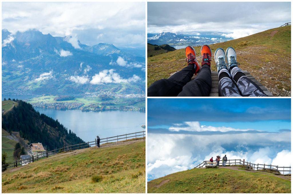 Uma colagem com imagens de trilhas no Monte Rigi.