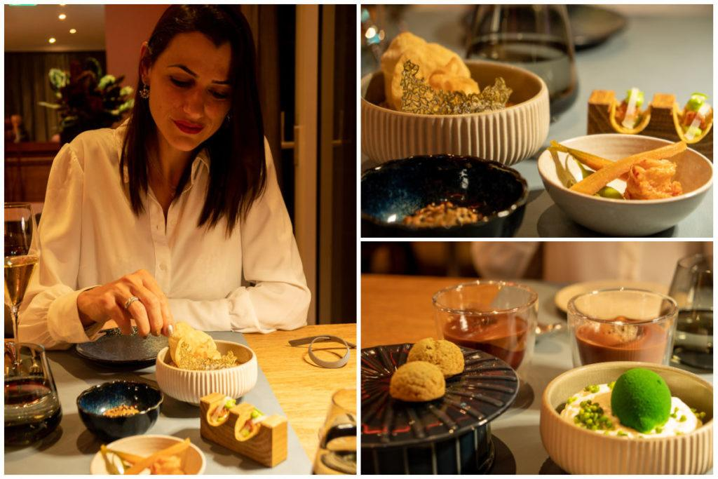 A collage of images of dishes and a woman trying them at Prisma Restaurant in Lucerne.