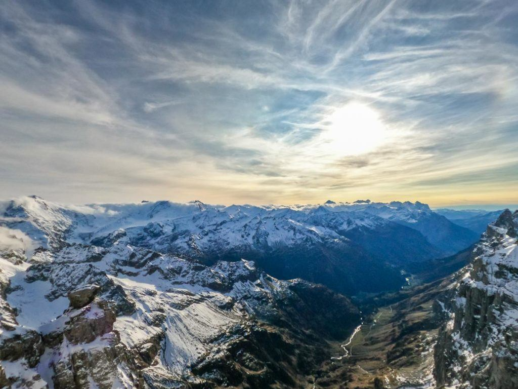 A panoramic view of Mount Titlis from up high.