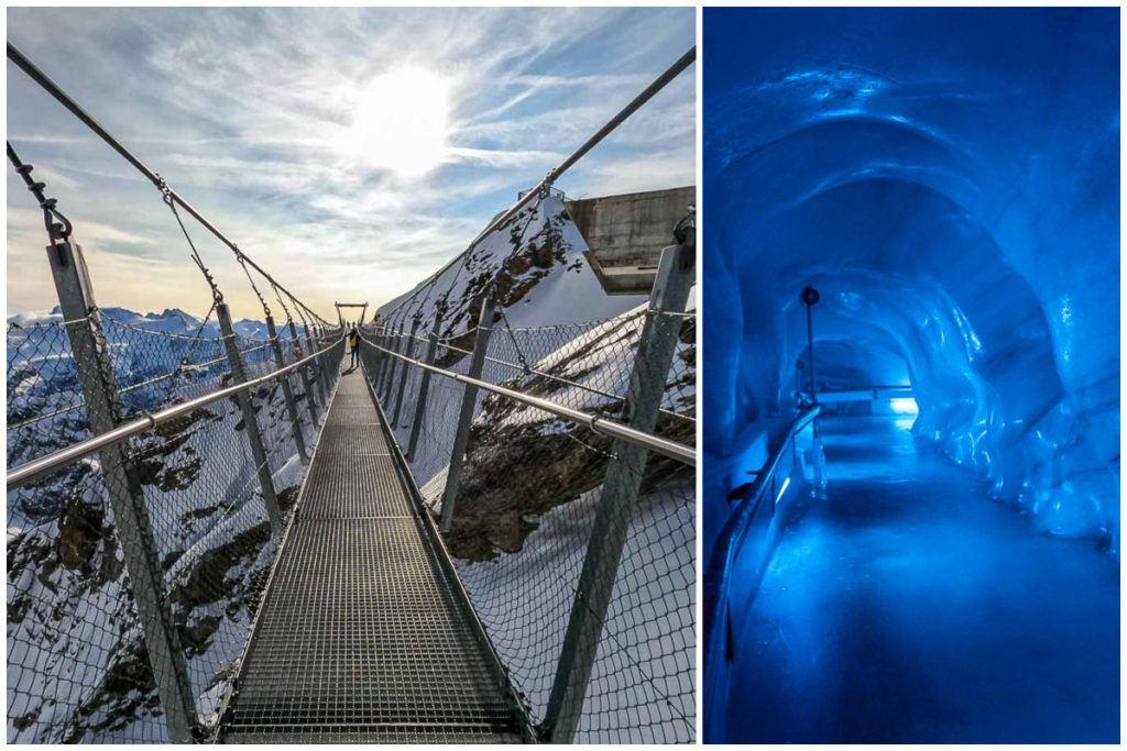 Uma montagem com imagens da ponte suspensa e túneis de gelo no Monte Titlis, um dos passeios bate e volta de Lucerna que vale muito a pena fazer.