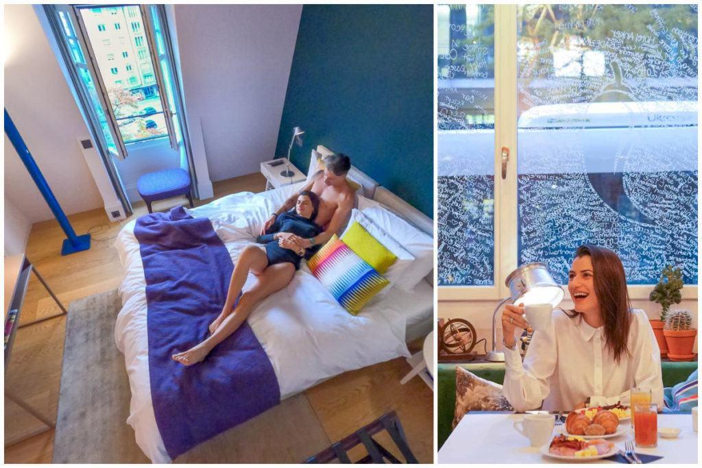 Uma colagem com fotos no Hotel Anker, no quarto e no restaurante. O Hotel Anker é um dos melhores lugares para se hospedar em Lucerna.