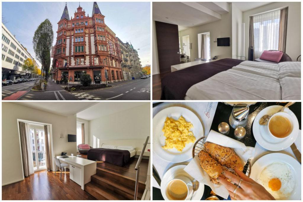 Uma montagem com imagens no Hotel Waldstaetterhof, da fachada, do quarto e do café da manhã. Este é um dos melhores hotéis em Lucerna.