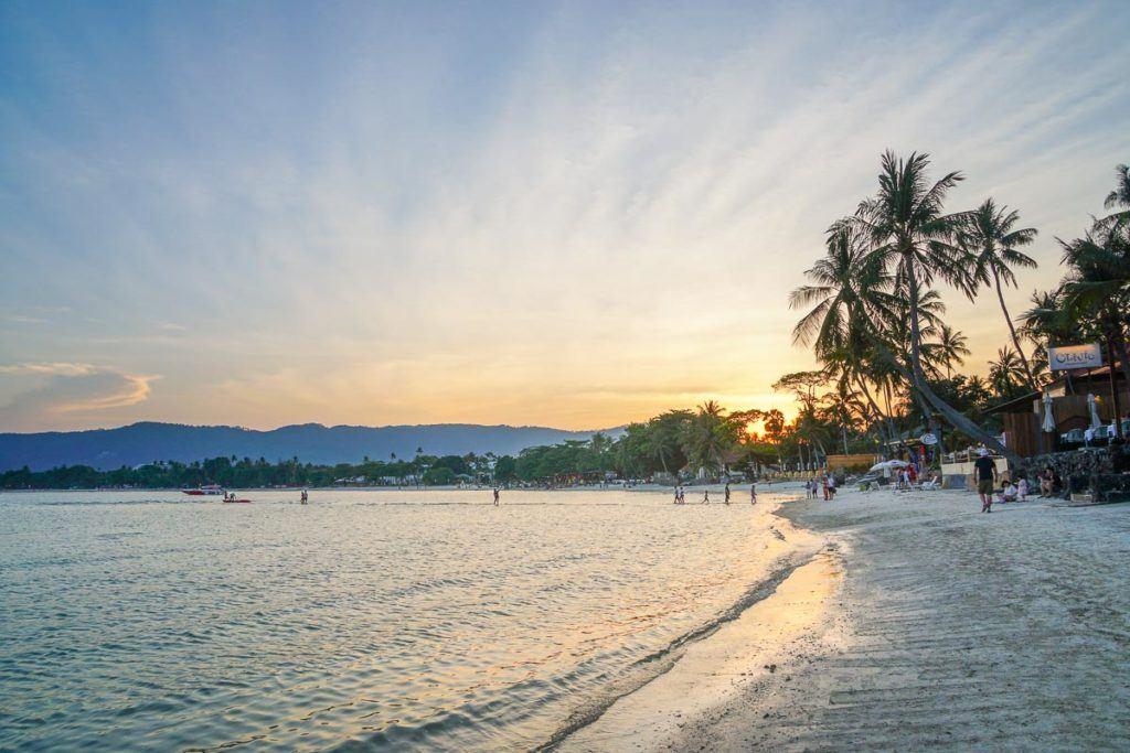 Chaweng beach in Samui Island, Thailand. Sunset ay the beach in Koh Samui.