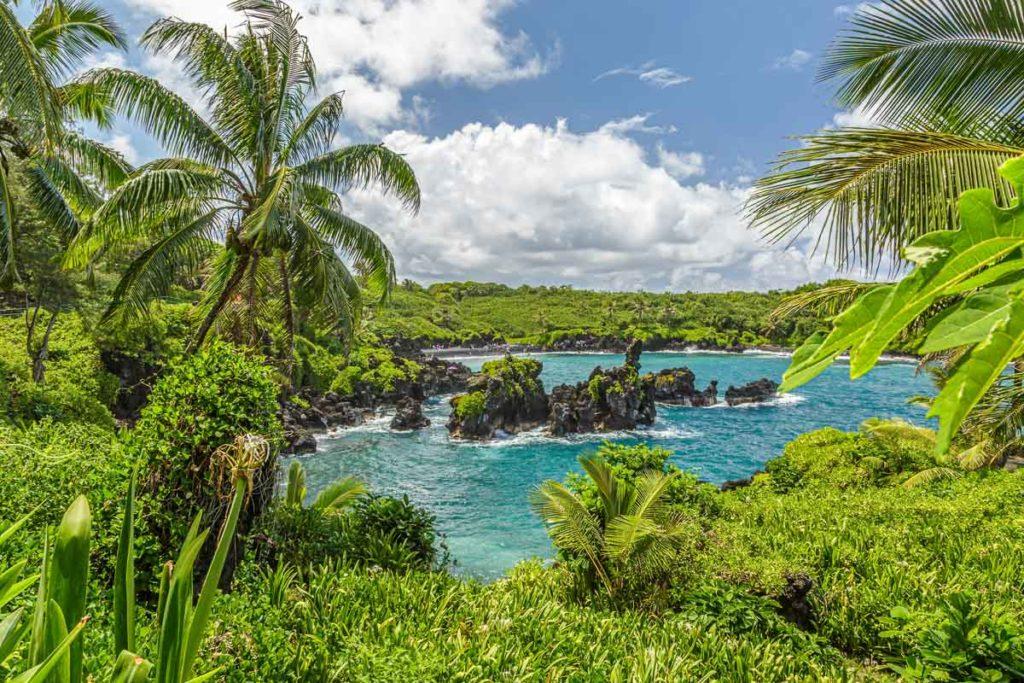 Waianapanapa State Park, home to a black beach, a popular destination on the Road to Hana on Maui, Hawaii
