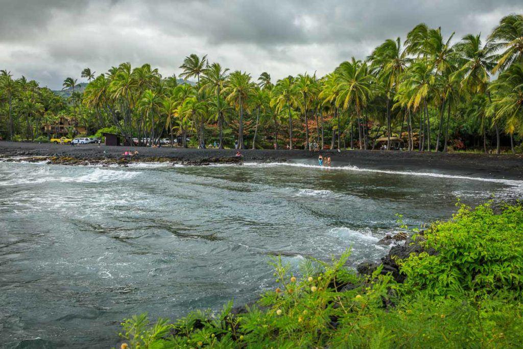The beach of Honokalani in Waianapanapa State Park, Maui - Hawai. Also known as the Black Sand Beach Maui.