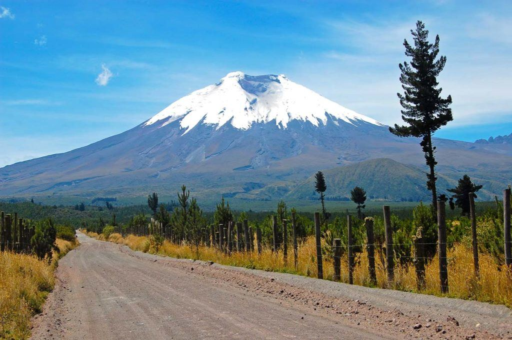 A dirty road to a volcano in Ecuador, a safe country to visit in South America.