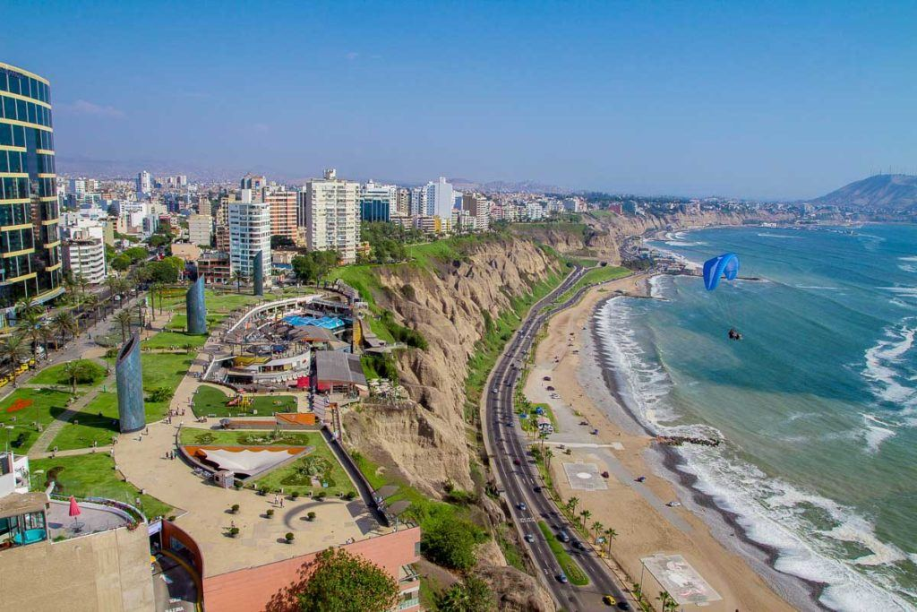 Aerial view of Miraflores Park, Lima - Peru, a country in South America that is safe to visit.