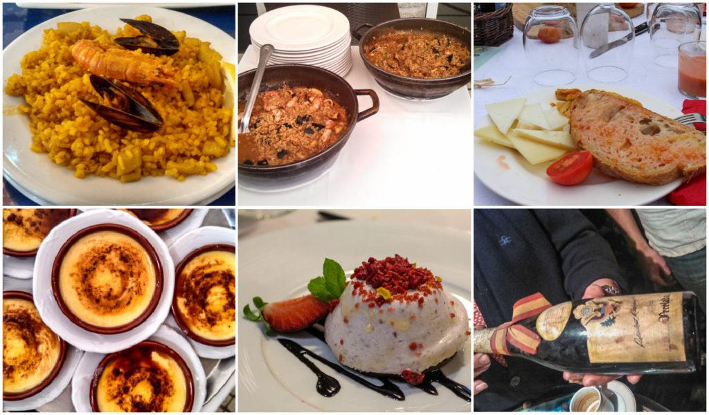 A photo collage with Spanish dishes like paella, crema Catalana and others.