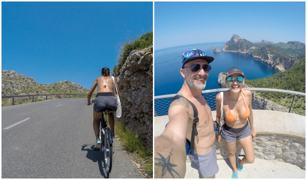 Collage of a Woman cycling in Mallorca and a couple taking a selfie at Mirador d'es Colomer.