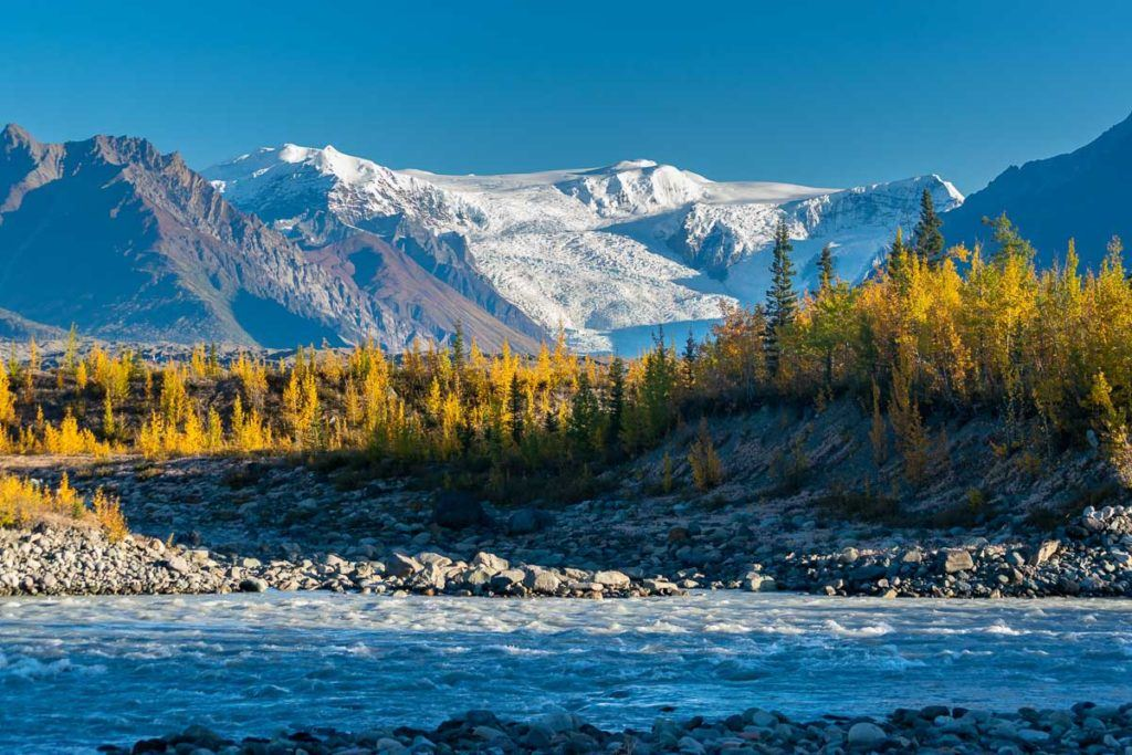 Landscape of the Wrangell st. Elias National park. One of the most beautiful mountain ranges in the US.