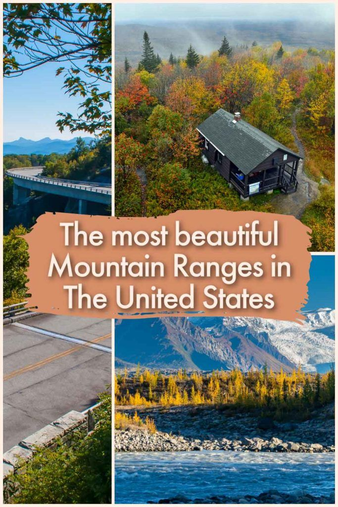 A collage of 3 photos of the most beautiful mountain ranges in the US. One is snow-capped, another is with autumn foliage and the third has a road with a car.