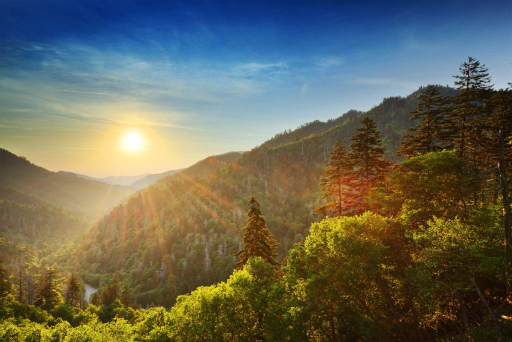 Sunset at the Newfound Gap in the Great Smoky Mountains in the US. The trees has green and reddish leaves.