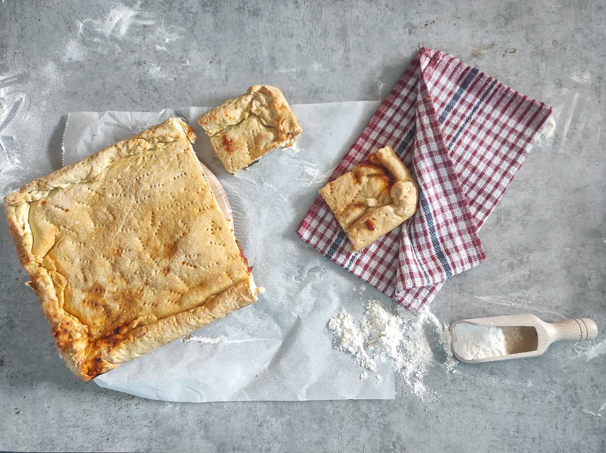 One of the many pies traditional from Croatia cuisine. One the photo you can see the pie and a napkin.
